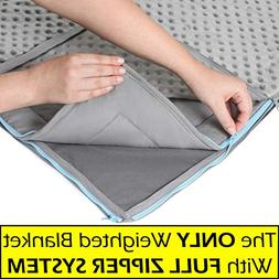 20lb Weighted Blanket + FREE Removable Minky Cover + FULL ZI