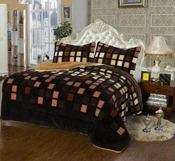 3 Piece Brown Squares King Size Warm Flannel Sherpa Borrego