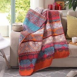 "60"" x 50"" Boho Stripe Quilted Throw Blanket 100% Cotton"