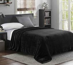 "90"" x 104""Luxury King Size Flannel Velvet Plush Solid Bed Bl"