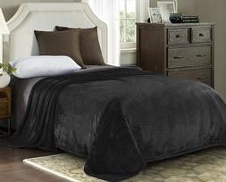 "90"" x 90""Luxury Queen Size Flannel Velvet Plush Solid Bed Bl"