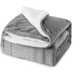 BEDSURE Sherpa Fleece Blanket Twin Size Grey Plush Throw Bla