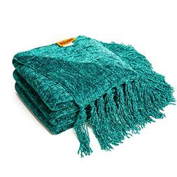 DOZZZ Fluffy Chenille Knitted Throw Blanket With Decorative