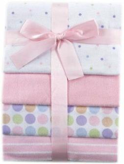 Luvable Friends 4-Pack Flannel Receiving Blankets, Pink,28 x