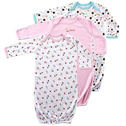Luvable Friends Baby Cotton Gowns, Pink Cake 3Pk, 0-6 Months
