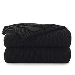 Black Cotton Cable Knit Throw Blanket for Couch Sofa Chair B