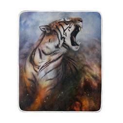 ALAZA Blankets Mysterious Space Tiger Crystal Velvet Throw B