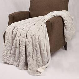 Home Soft Things Boon Jumbo Embroidery Batik Sherpa Throw Bl