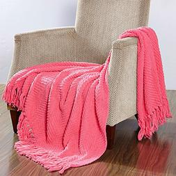 BOON Knitted Tweed Throw Couch Cover Blanket, 50 x 60, Camel