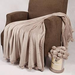 """Home Soft Things Boon Pompom Bed Couch Throw Blankets, 50"""" x"""