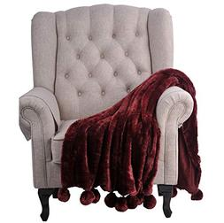 "BOON Pompom Faux Fur Throw Couch Blanket, 50"" x 60"", Oxblood"