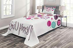 Ambesonne Christmas Bedspread Set Twin Size, Colorful Graphi