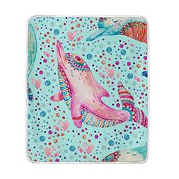 ALAZA Cooper Girl Cute Dolphin Throw Blanket Soft Warm Bed C