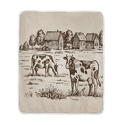 ALAZA Cooper Girl Hand Drawn Vintage Cow Field Throw Blanket