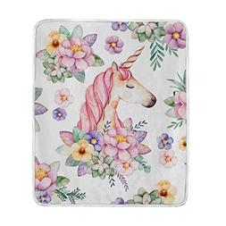 Cooper girl Unicorn And Flowers Throw Blanket Soft Warm Bed