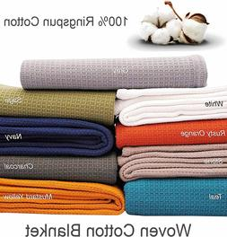 Cotton Bed Blanket -100% Ring spun Woven Waffle Small Honeyc