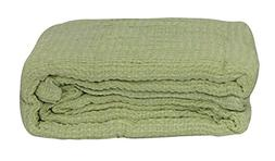 LCM Home Fashions Cotton Thermal Blanket, Twin, Sage
