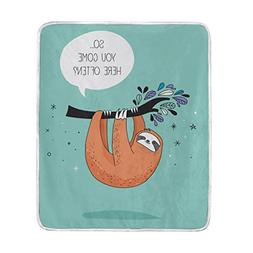 ALAZA Cute Sloth Blanket Soft Warm Cozy Bed Couch Lightweigh