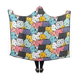 Artsadd Designed Hooded Blanket Cute Cat Wearable Blanket 60