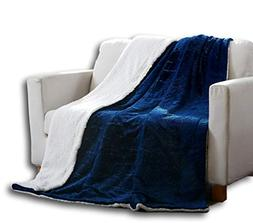 Tache 90x90 Embossed Cozy Night Blue Soft Sherpa Throw Blank