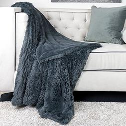 Homey Cozy Faux Fur and Flannel Metal Gray Throw Blanket, Su