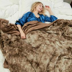 Faux Fur Throw Blanket Plush Soft Warm Sherpa for Bed Couch