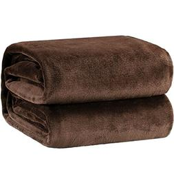 Bedsure Flannel Fleece Luxury Blanket Brown Twin Size Lightw