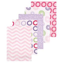Luvable Friends 5 Pack Flannel Receiving Blankets - Pink Pin