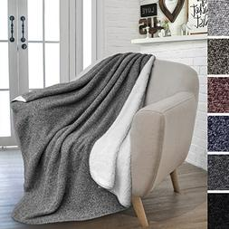 PAVILIA Sherpa Throw Blanket for Couch, Sofa, Chair | Fleece