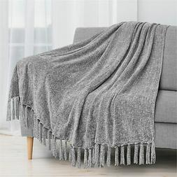 Fluffy Chenille Knitted Throw Blanket Decorative Fringe for