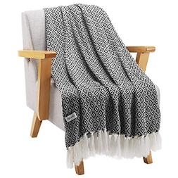 LANGRIA Geometrical Pattern Wearable Throw Blanket with Tass