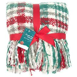 G Lake Green Red Plaid Blanket Throw Acrylic Soft Reversible