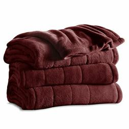Sunbeam Heated Electric Blanket Channeled Velvet Plush Twin