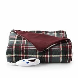 Biddeford Heated Electric MicroPlush Reversible Gray  Red Pl