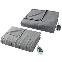 Beautyrest - Heated Fleece Blanket and Throw Combo Set - Gre