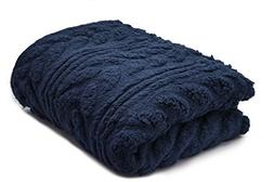 POSH HOME Herringbone Cable   Embossed Sherpa Throw Blanket