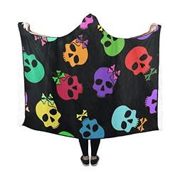 Artsadd Hooded Blanket Gothic Sugar Skull Maxican Day of the