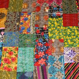 Indian Handmade Patchwork Kantha Quilt King Size Multi Cotto