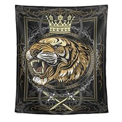 ALAZA King of Tiger Polyester Family Decor Tapestry Vertical