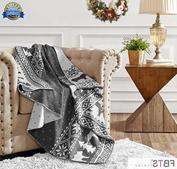 """FBTS Prime Knitted Throw Blanket 50""""x 60"""" Gray Christmas Bea"""