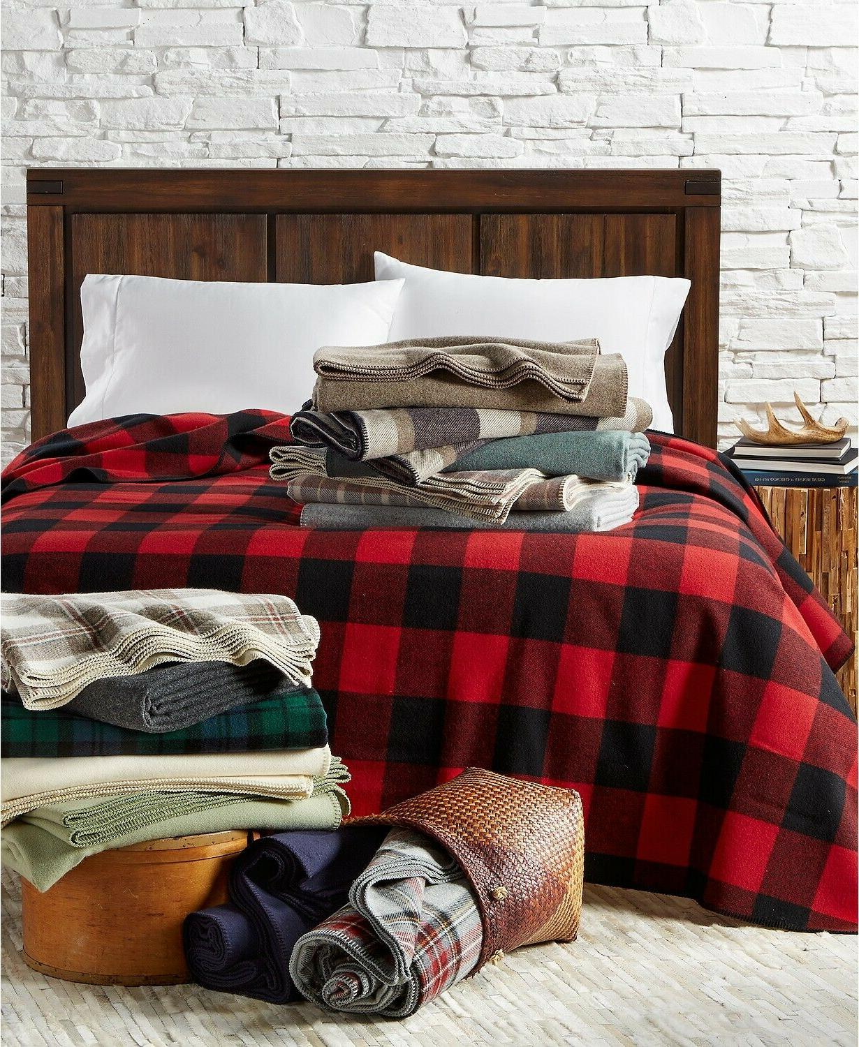 Pendleton King Eco-Wise Washable Wool Blanket In Red Plaid $