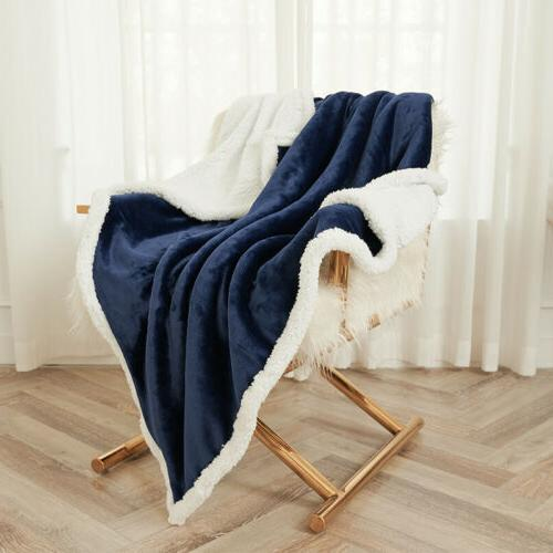 Sherpa Fleece Blanket Soft Plush Warm Thickened Bed Twin