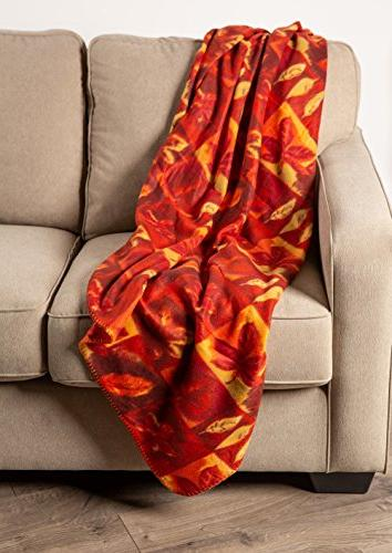 J&M Home Fashions Holiday Thanksgiving Fleece Throw Blanket Warm Breathable Fluffy Bed, Camping, Beach, Travel-Harvest