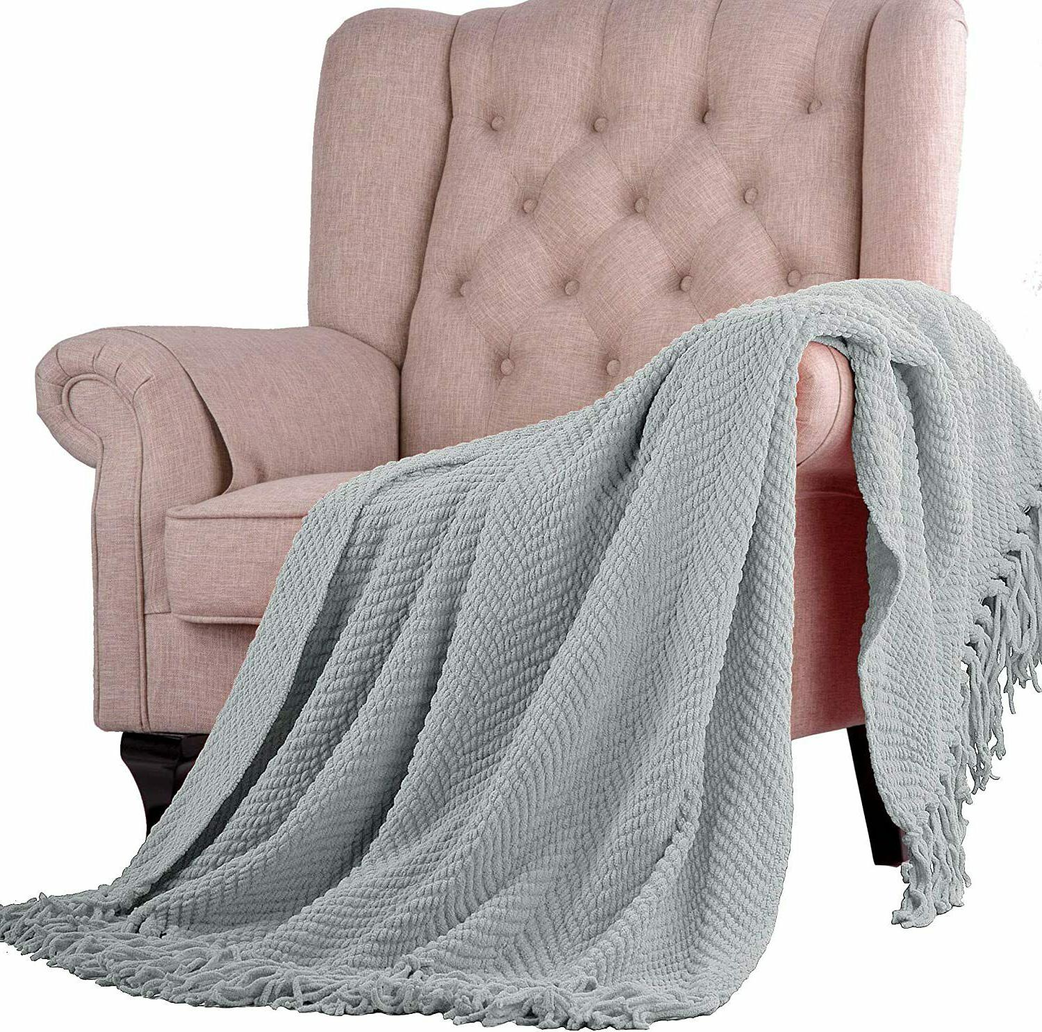 knitted tweed throw couch cover blanket 50x60