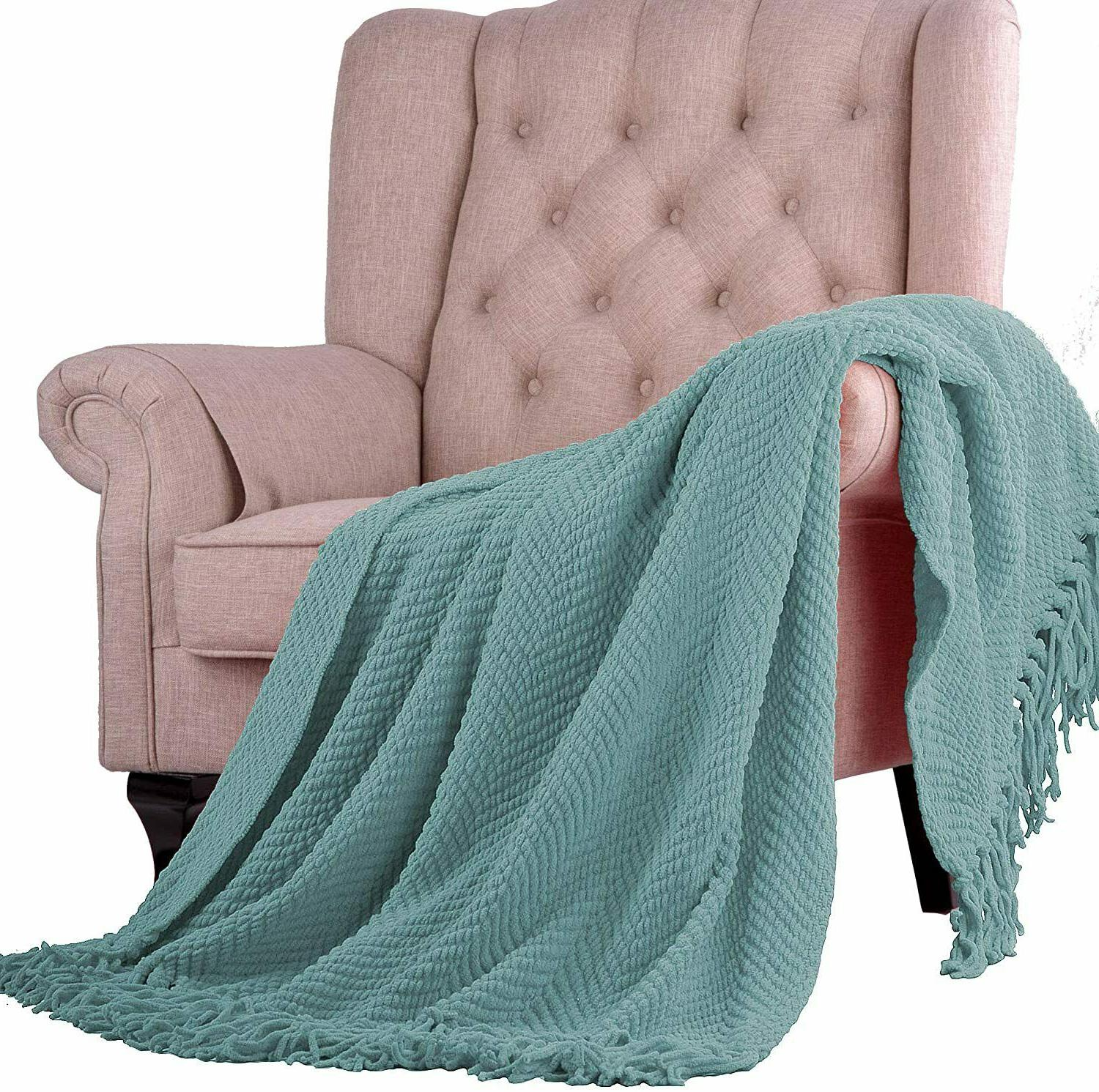 Knitted Tweed Throw Couch Cover Blanket, 50x60, Silver Blue