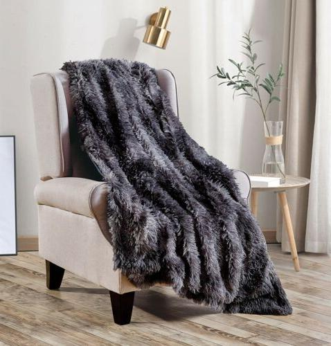 Luxury Plush Faux Fur Blanket for Bed Sofa Couch Decortive F