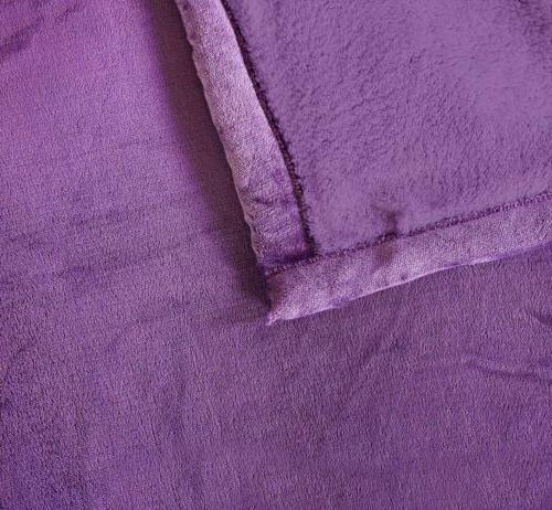 Chezmoi Collection Sherpa Warm Blanket Reversible Solid Color