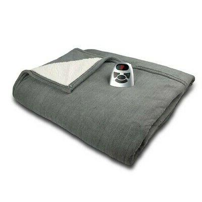 NEW Biddeford Microplush with Sherpa Electric Blanket - Gray