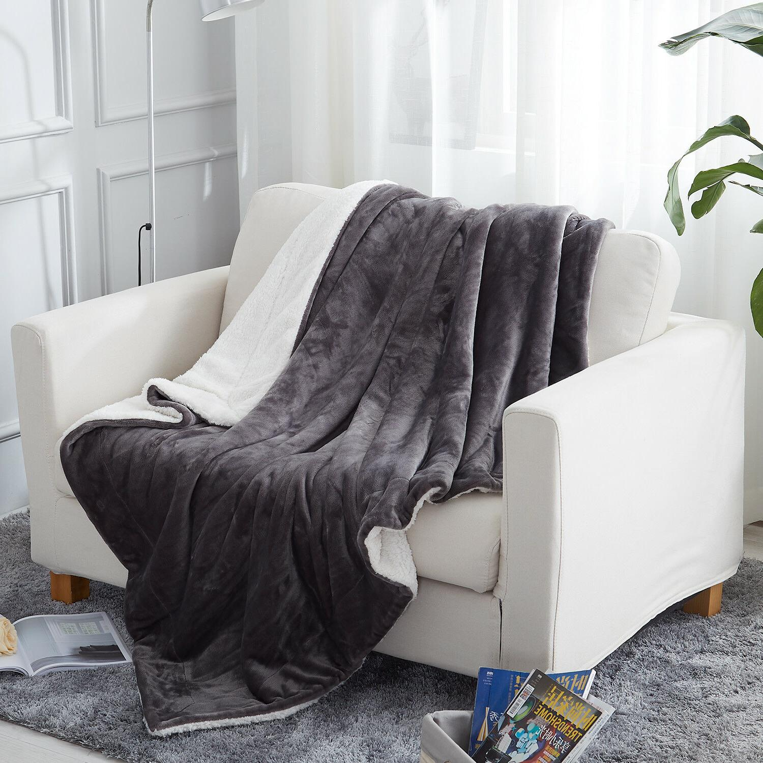 Plush Fuzzy Sherpa Throw Blanket for Couch Sofa Bed Microfib