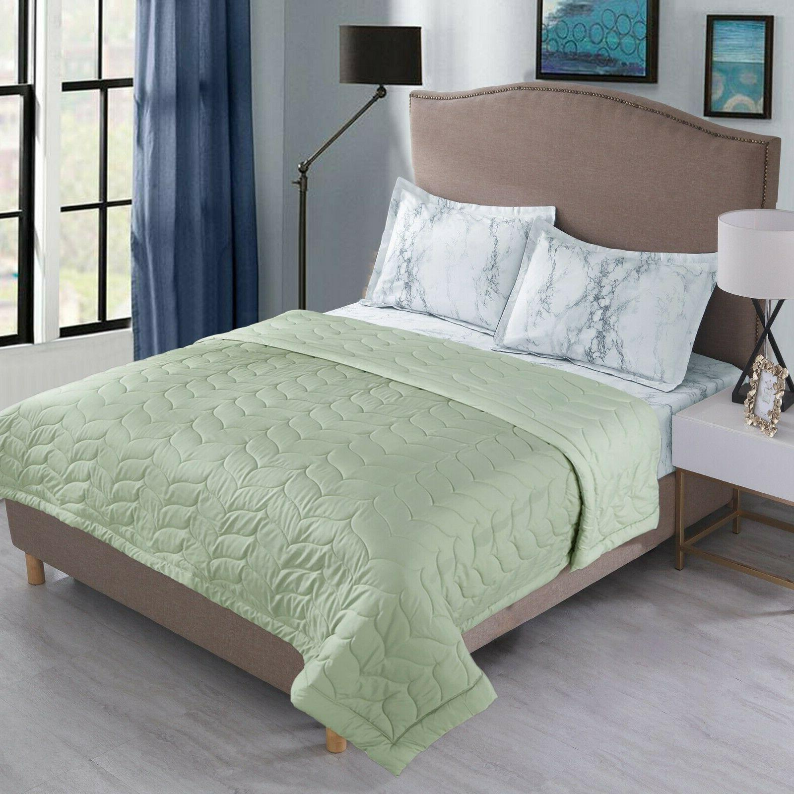 Quilted Down Alternative Comforter Lightweight Reversible Size